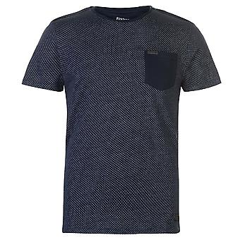 Firetrap Mens Blackseal textura T Shirt cuello redondo camiseta Tee Top