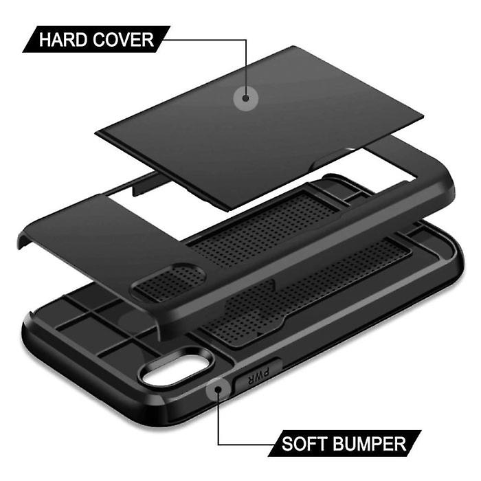 VOFOLEN iPhone 7 - Wallet Card Slot Cover Case Business Black