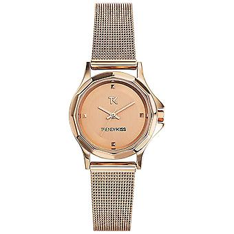 Trendy kiss-lucille Quartz Analog Woman Watch with Stainless Steel Bracelet TMG10060-04