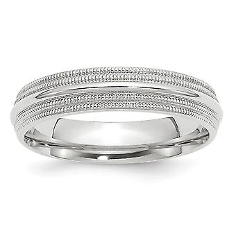 14k White Gold 5mm Double Milgrain Comfort Fit Band Ring Jewely Gifts for Women - Ring Size: 4 a 14