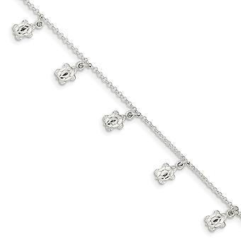 925 sterling sølv fancy hummer lukning poleret skildpadde med 1 tommer ext. Ankelkæde-9 tommer
