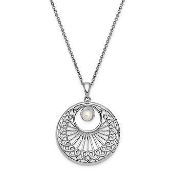925 Sterling Zilver gepolijst Gift Boxed Spring Ring Rhodium verguld zoetwater gekweekte parel je bent een religieuze Guardi