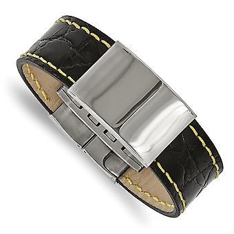 23.34mm Acciaio inossidabile Polacco Nero Pelle Giallo Stitch ID Bracciale 8.5 Pollici Gioielli Regali per le Donne