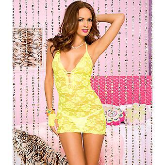 Lace Halter Dress-Yellow