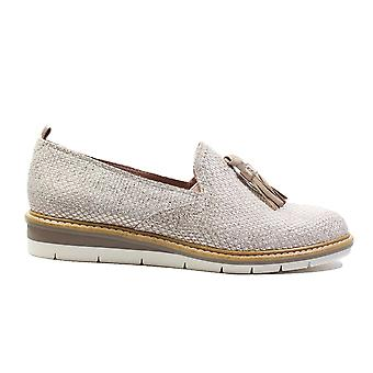 Tamaris 24300-20 Metallic Beige Leather/Textile Womens Slip On Loafer Shoes