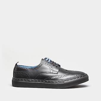 Oswin Hyde Stan Mens Leather Brogue Trainers All Black