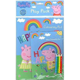 Peppa Pig Play Pack Colouring Pads Pencils Kids Activity Set