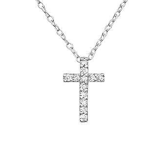 الصليب الكريستال - 925 الجنيه الاسترليني الفضة مرصع بالجواهر القلائد - W19473X