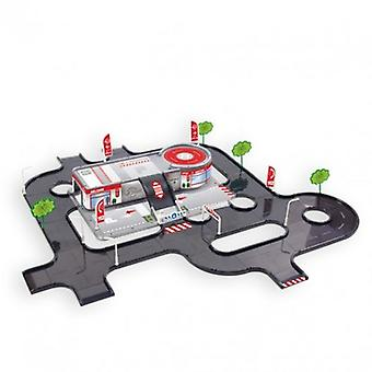 Mochtoys service station with test track 10941, parking, helipad