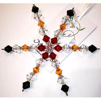Handmade hanging Snowflake decoration in Red, Gold,, Green by Nyleve Designs