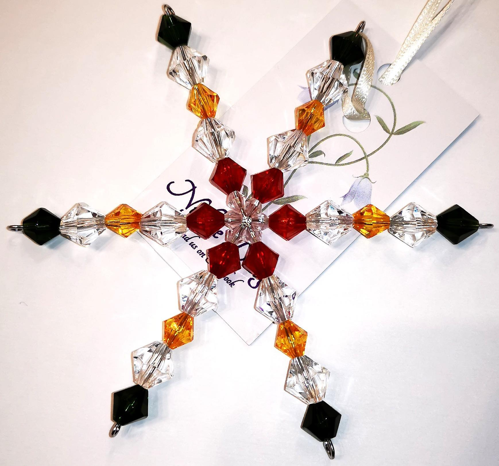 Nyleve Designs handmade hanging Snowflake decoration in Red, Gold,, Green