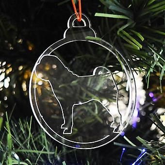 Dog Bauble Clear Acrylic Christmas Decorations 6pk - Standing Pug