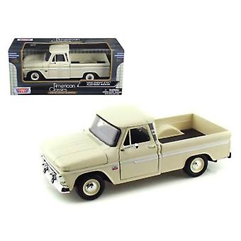 1966 Chevrolet C10 Fleetside Pickup Cream 1/24 Diecast Car Modelo Por Motormax