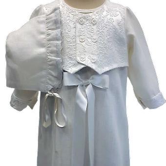 Dopklänning Grace Of Sweden, Med Brokad-väst Och Dophätta, Vit. R.