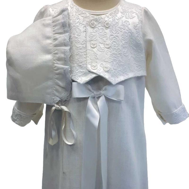 Christening dress Grace Of Sweden, With Brokad-west And Dophätta, White. R.