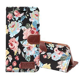 Für iPhone XS MAX Cover, Leder Brieftasche Fall mit Karte Slots, Stand, schwarze Blume