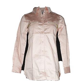 Belle de Kim Gravel Mujeres's Top XXS Novia Camisa w / Bolsillos Rosa A296109