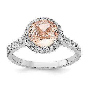 Cheryl M 925 Sterling Silver Cubic Zirconia and Simulated Morganite Ring Jewelry Gifts for Women - Ring Size: 6 to 8