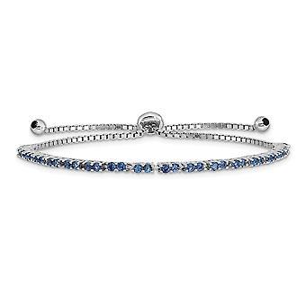 925 Sterling Silber Rhodium vergoldet September blau CZ Zirkonia simuliert Diamant Adj Armband Schmuck Geschenke für Wom