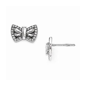 925 Sterling Silver Pave Rhodium plated and CZ Cubic Zirconia Simulated Diamond Brilliant Embers Butterfly Angel Wings P
