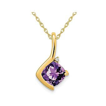 2.00 Carat (ctw) Cusion-Cut Amethyst Pendant Necklace in 14K Yellow Gold with Chain