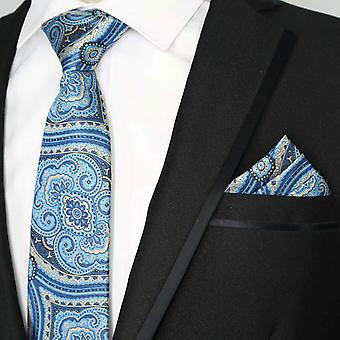 Baby blue & oat patterned pocket square & necktie set