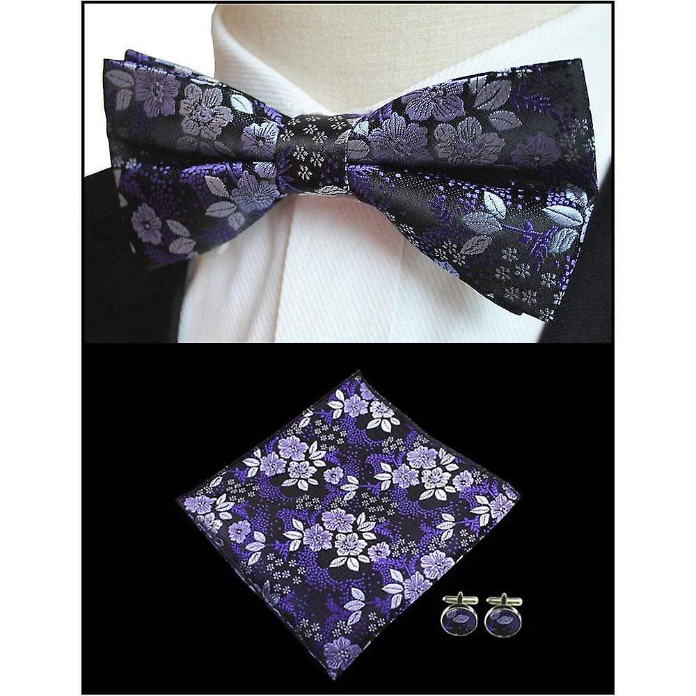Purple & black floral bow tie pocket square & cufflink