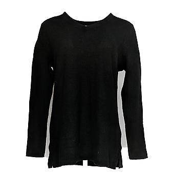 Isaac Mizrahi Live! Women's Cashmere V-neck Tunic Sweater Black A307915