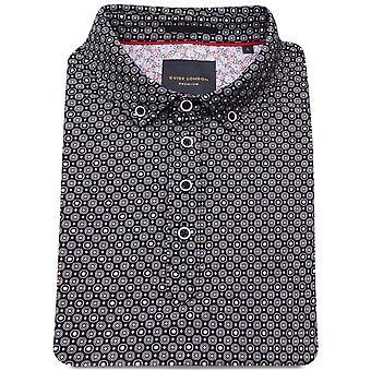Guide London Small Circle Print Cotton Polo T-Shirt