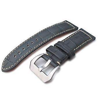 Strapcode crocodile grain watch strap 24mm crococalf (croco grain) light grey watch strap with beige stitches