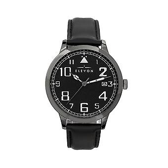 Elevon Sabre Leather-Band Watch w/Date - Gunmetal/Black/Black