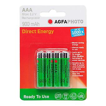 New AgfaPhoto Rechargeable AAA 1.2V Batteries 4 Pack Green