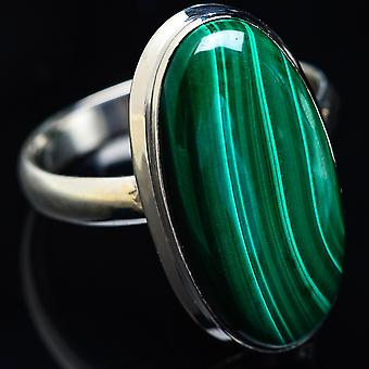 Large Malachite Ring Size 14 (925 Sterling Silver)  - Handmade Boho Vintage Jewelry RING3942