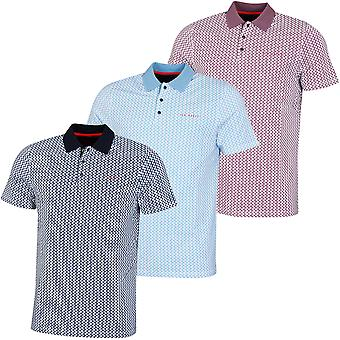 Ted Baker Mens 2020 Spinin Stretch Geometric Pattern 3-Button Golf Polo Shirt