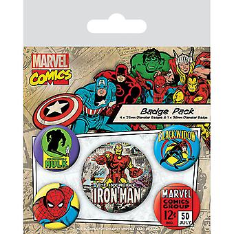 Marvel Retro Iron Man Pin Buton Rozetleri Seti