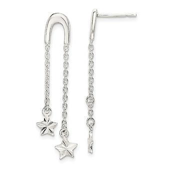 925 Sterling Silver Star Long Drop Dangle Oorbellen Sieraden Cadeaus voor vrouwen - 1,7 gram
