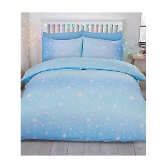 Starburst Brushed Cotton Double Duvet Cover Set - Ice Blue