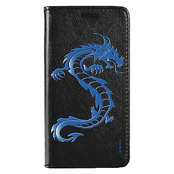 Fall für Huawei Mate 20 Lite schwarz blau Drachen Muster