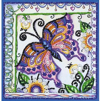 Abris Art Bead Embroidery Kit With Thread - Butterfly In Flowers
