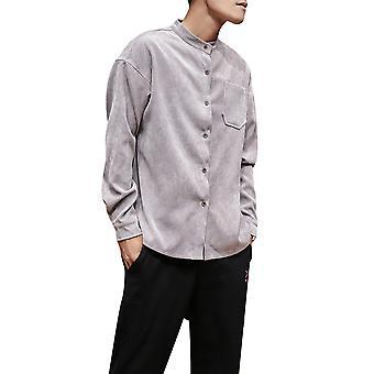 Allthemen Men's Long Sleeve Shirt Loose Solid Casual Shirt