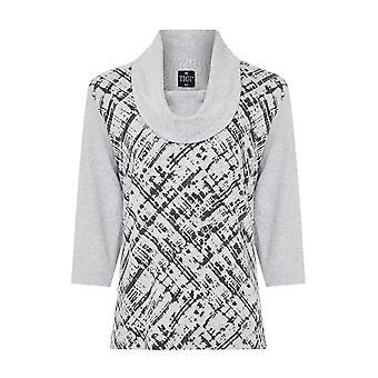 TIGI Grey Abstract Print Cowl Neck