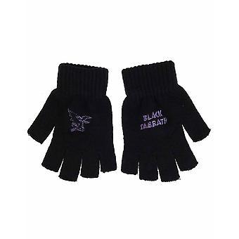 Black Sabbath Gloves Band Logo devil Ozzy Osbourne New Official Fingerless Black