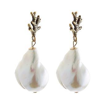 Boucles d'oreilles Gemshine corail 925 argent, plaqué or, rose avec des perles baroques blanches