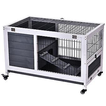 Compact Wooden Rabbit Hutch w/ 3 Areas Wire Fencing Opening Roof Doors 4 Wheels Indoor Home Cage Run Small Animal Bunny Pet 59x90cm