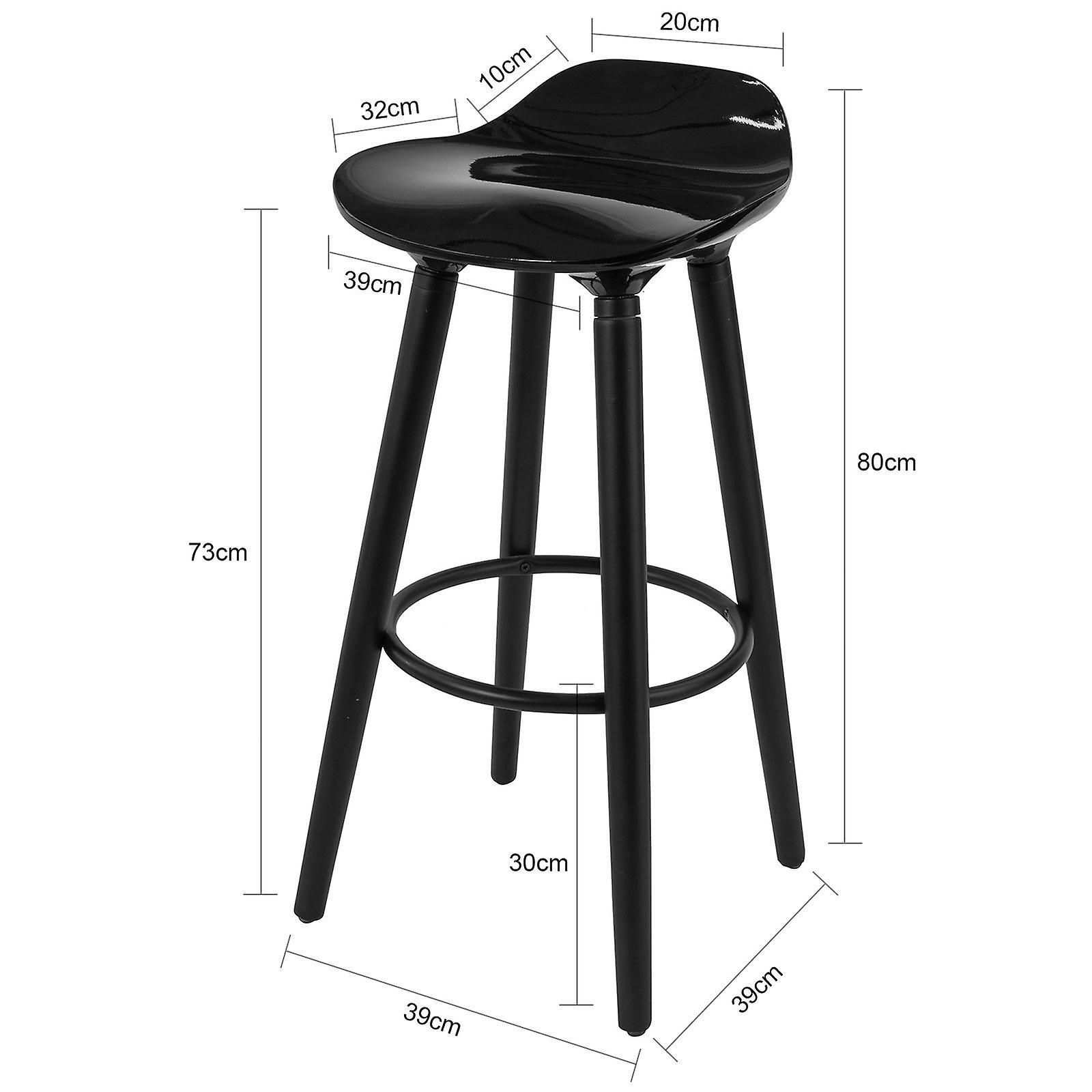 SoBuy FST34-HEI, Bar Stool Kitchen Breakfast Barstool avec ABS Plastic Seat & Beech wood Legs, Noir
