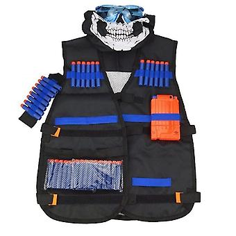 Childrens Black Tactical Gun Accessories Waistcoat - Ammo Holder Elite Pistol Bullets Darts for Nerf Mask Goggles Type - a Vest Jacket