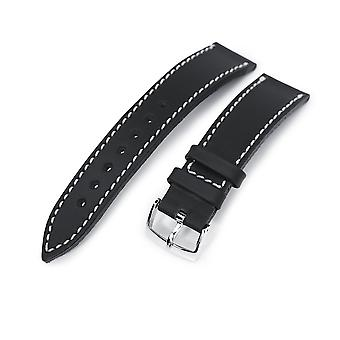 Strapcode calf leather watch strap german made 20mm matte black geniune calf watch band, polished
