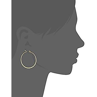 "Gold Plated Sterling Silver Hammered Hoop Earrings, 1.45"", Gold, Size No Size"