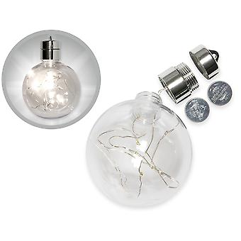 Premium 80mm Light Up LED Fillable One-Part Clear Plastic Christmas Bombka