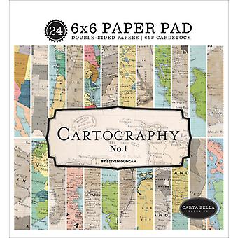 Carta Bella kartografia nro 1 6x6 tuuman paperityyny
